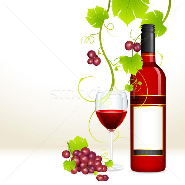Grape with Wine Bottle and Glass Stock photo © vectomart