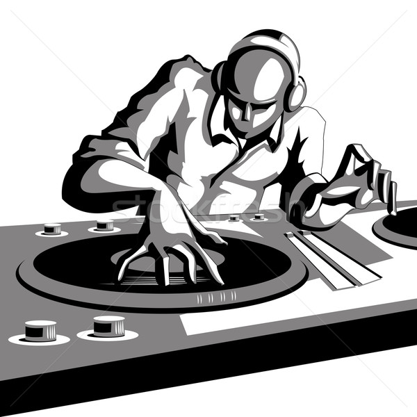 Disco jockey illustration jouer musique discothèque Photo stock © vectomart