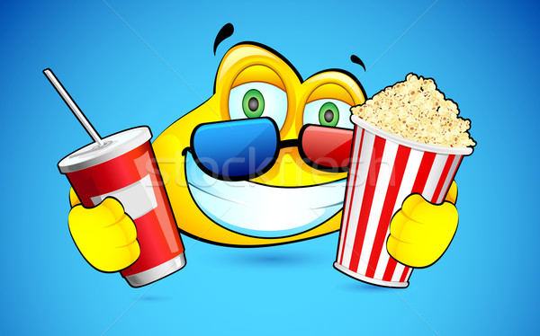 Smiley with Pop Corn and 3d Goggles Stock photo © vectomart
