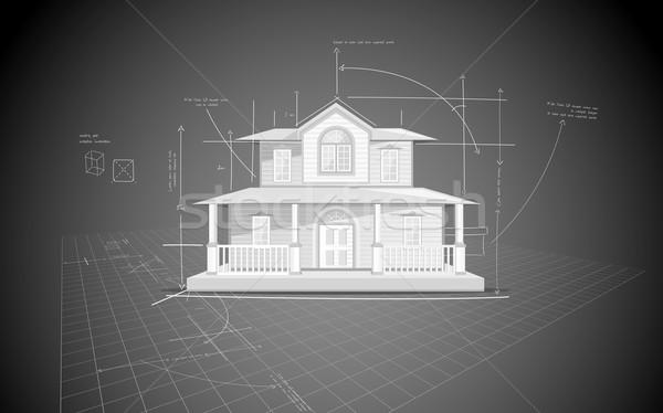 Casa azul impresión ilustración modelo casa Foto stock © vectomart