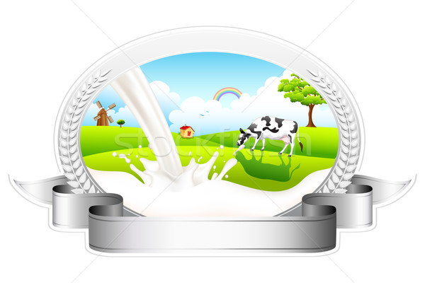 Melk koe illustratie badge boom Stockfoto © vectomart