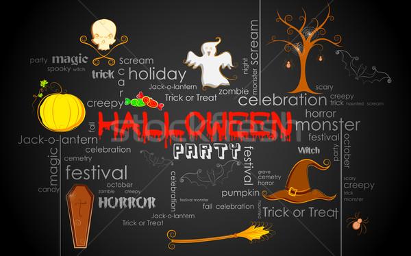 Halloween typografii ilustracja inny jesienią Zdjęcia stock © vectomart