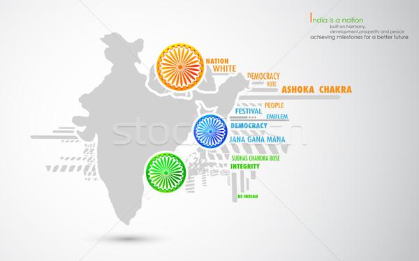 Kaart driekleur wiel illustratie chakra indian Stockfoto © vectomart