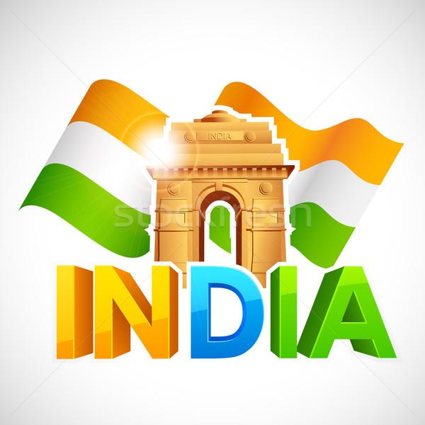 Indië poort driekleur vlag illustratie vrijheid Stockfoto © vectomart