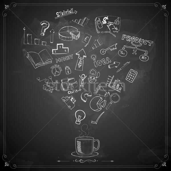 Foto stock: Negocios · garabato · pizarra · ilustración · dinero · tecnología