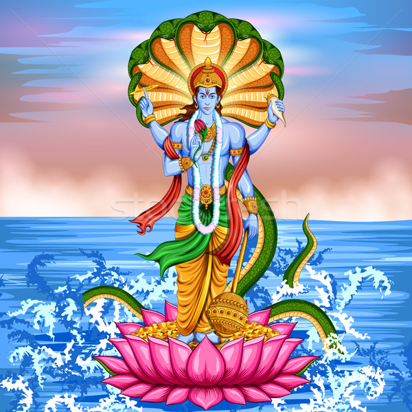 Lord Vishnu standing on lotus giving blessing Stock photo © vectomart