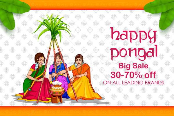 Gelukkig vakantie oogst festival zuiden Indië Stockfoto © vectomart