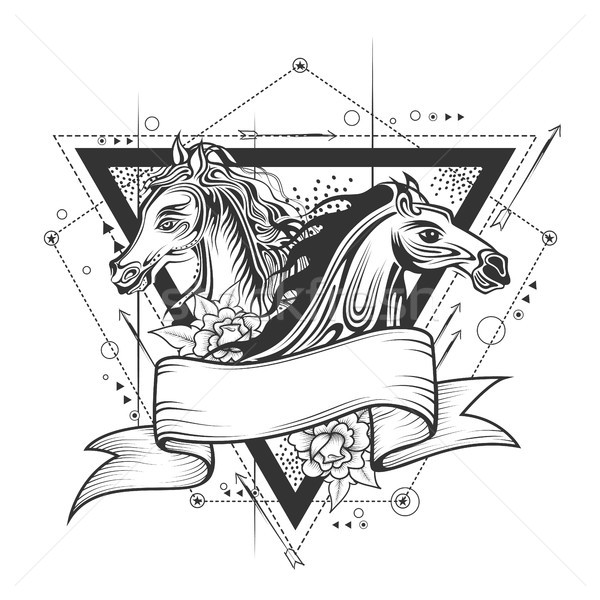 Tatouage art design courses de chevaux ligne illustration Photo stock © vectomart