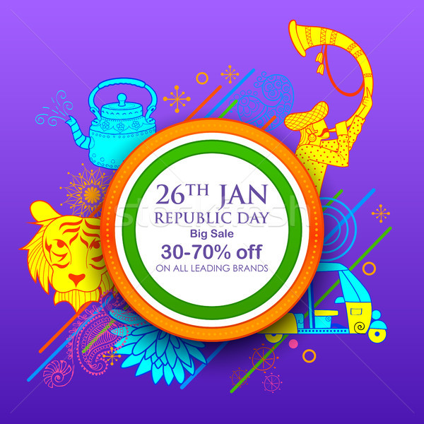 Indian background with tricolor for 26th January Happy Republic Day of India Sale and Promotion Adve Stock photo © vectomart