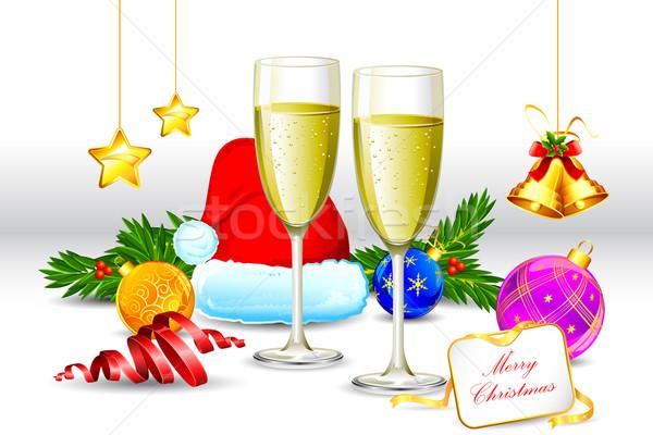 Сток-фото: пить · стекла · Рождества · элемент · иллюстрация · шампанского