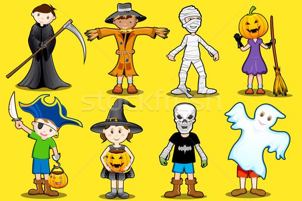 Kinderen kostuum illustratie verschillend halloween partij Stockfoto © vectomart