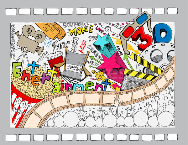 Cinema doodle illustrazione diverso oggetto stile Foto d'archivio © vectomart