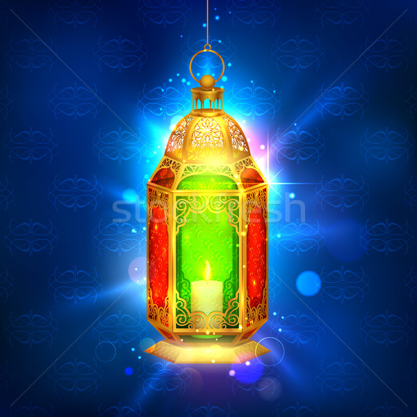 Illuminated lamp on Ramadan Kareem (Generous Ramadan) background Stock photo © vectomart