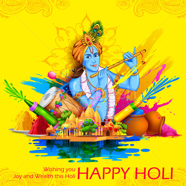 Lord Krishna playing flute in Happy Holi background Stock photo © vectomart