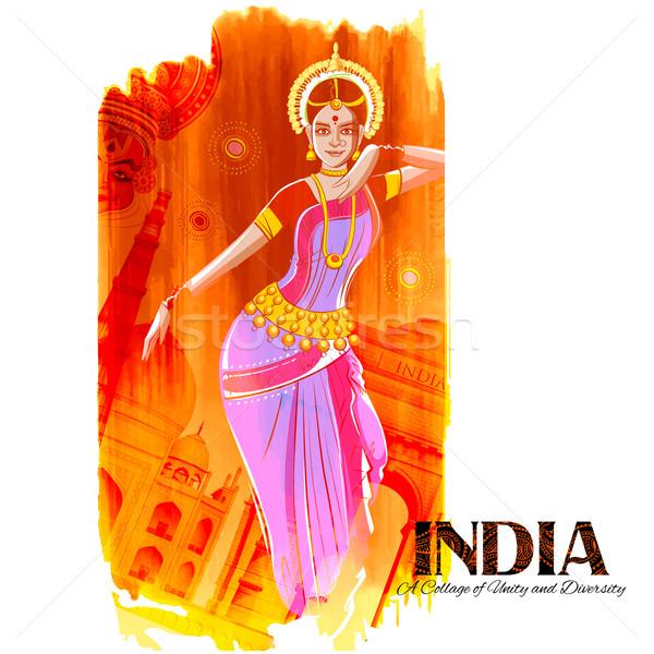 Femminile ballerino dancing indian colorato Foto d'archivio © vectomart