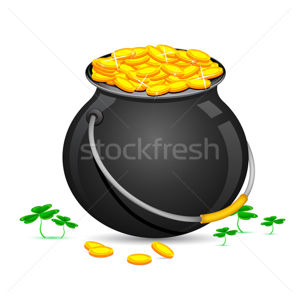 Gold Coin Pot of Saint Patrick Day Stock photo © vectomart