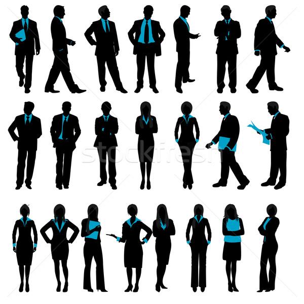 Sylwetka ludzi biznesu ilustracja zestaw odizolowany działalności Zdjęcia stock © vectomart