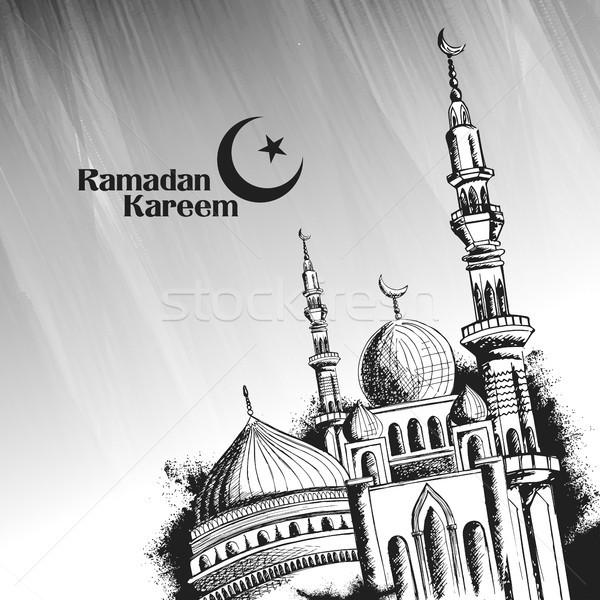 Ramadán nagyvonalú üdvözlet arab mecset illusztráció Stock fotó © vectomart