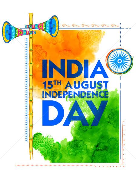 Streszczenie tricolor indian banderą akwarela ramki Zdjęcia stock © vectomart