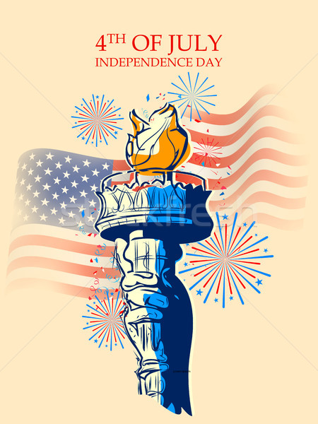 Statue of Liberty on Fourth of July background for Happy Independence Day of America Stock photo © vectomart