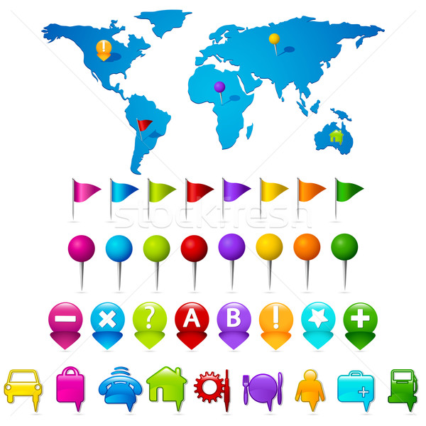 World Map with GPS icons Stock photo © vectomart