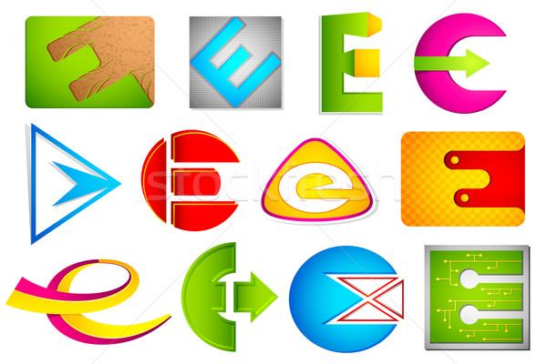 Different Icon with alphabet E Stock photo © vectomart