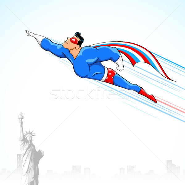 Illustration drapeau américain costume battant Photo stock © vectomart