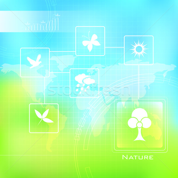 Természet illusztráció felirat szimbólum tavasz pillangó Stock fotó © vectomart