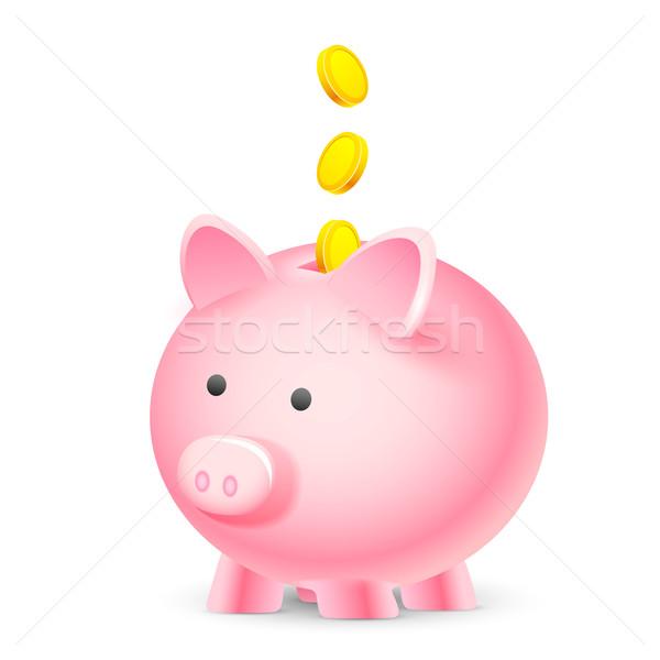 Coin falling into Piggy Bank Stock photo © vectomart