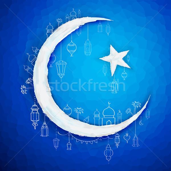 Ramadan generoso ilustração projeto lua fundo Foto stock © vectomart