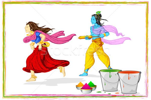 Radha Krishna Playing Holi Stock photo © vectomart
