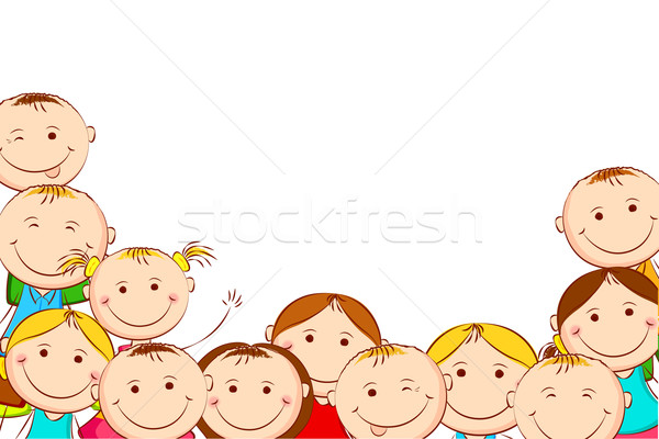 Heureux enfants illustration blanche famille fille Photo stock © vectomart