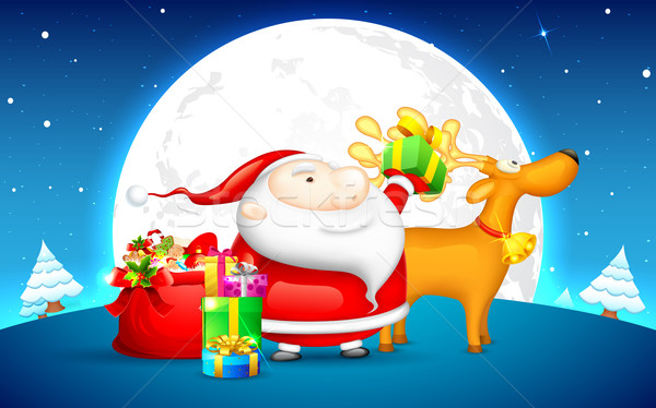 Santa with Gift for Christmas Stock photo © vectomart
