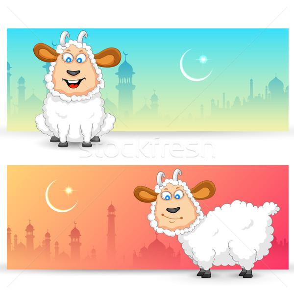 Sheep wishing Eid mubarak Stock photo © vectomart