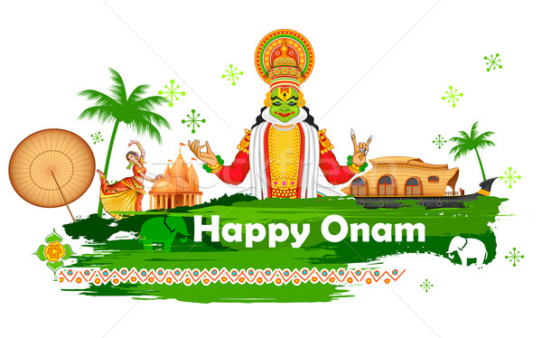Onam background showing culture of Kerala Stock photo © vectomart