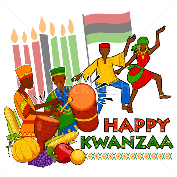 Happy Kwanzaa greetings for celebration of African American holiday festival  harvest Stock photo © vectomart