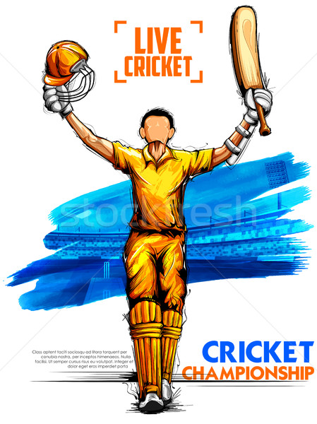 Spielen Cricket Meisterschaft Sport Illustration Mann Stock foto © vectomart