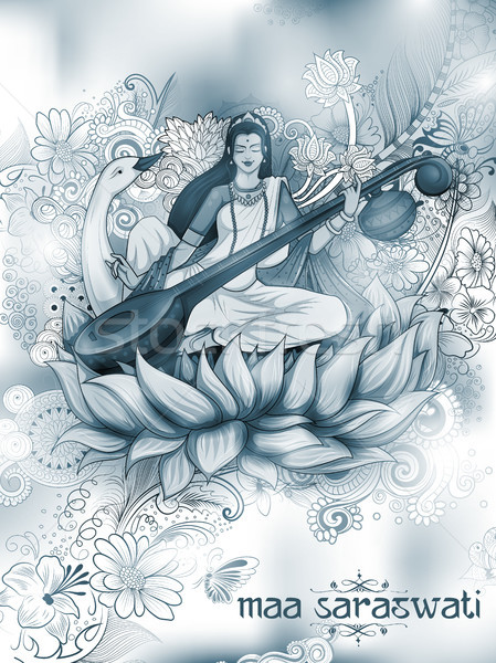 Deusa sabedoria Índia festival ilustração arte Foto stock © vectomart