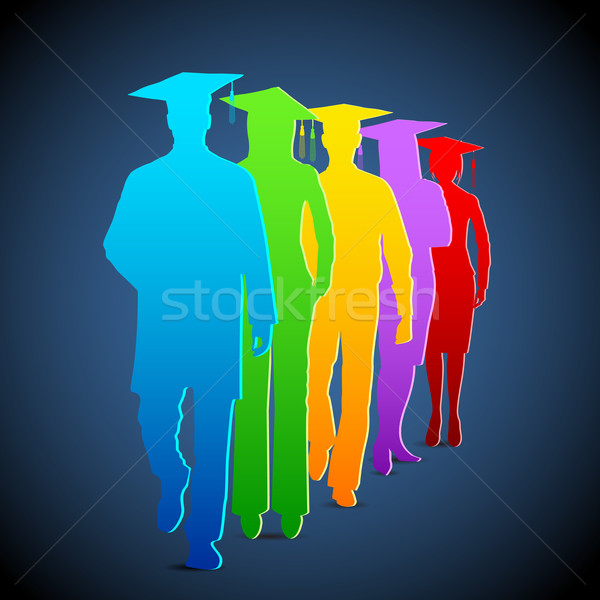Diplomások illusztráció színes lány iskola boldog Stock fotó © vectomart