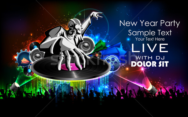 Disco Jockey playing music on New Year Party Stock photo © vectomart