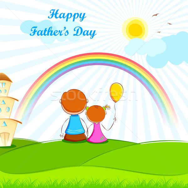 Foto stock: Pai · sessão · crianças · ilustração · céu · família