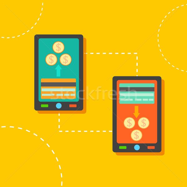 Transferência de dinheiro ilustração móvel telefone internet Foto stock © vectomart