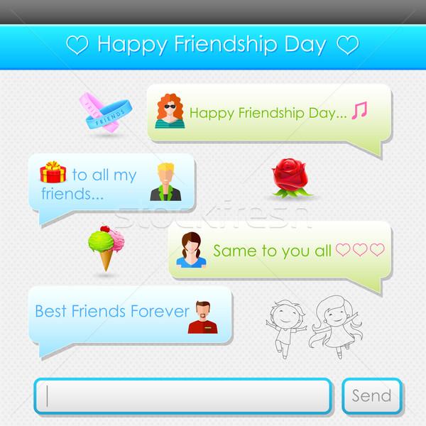 Szczęśliwy przyjaźni dzień wiadomość ilustracja social media Zdjęcia stock © vectomart