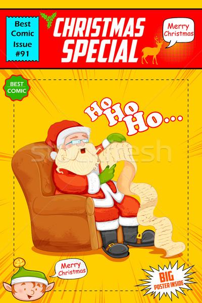 Babbo natale lettura elenco Natale illustrazione Foto d'archivio © vectomart