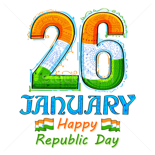 Stock photo: Floral tricolor background for 26th January Happy Republic Day of India