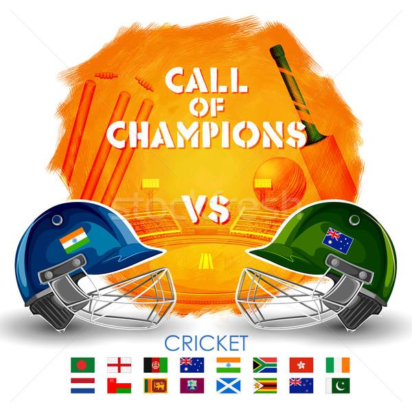 Giocatore casco cricket vs sfondo sport Foto d'archivio © vectomart