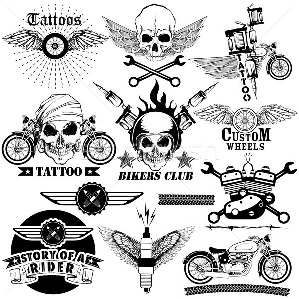 Tattoo art design of Skull Bike rider collection Stock photo © vectomart