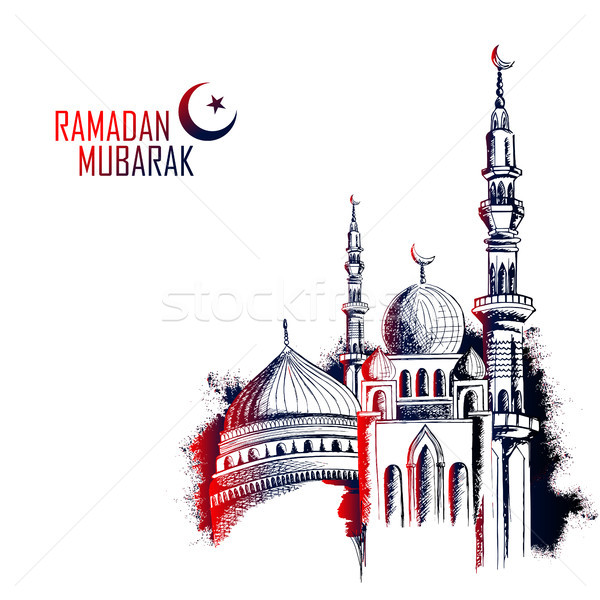 Ramadan Kareem Generous Ramadan greetings in Arabic freehand with mosque Stock photo © vectomart