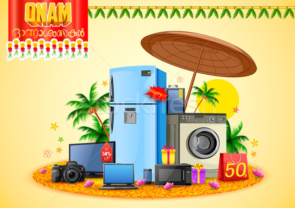 Electronics sale for advertisement and promotion background for Happy Onam festival of South India K Stock photo © vectomart