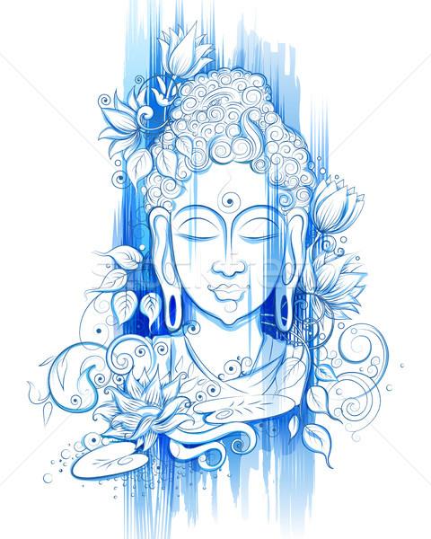 Lord Buddha in meditation for Buddhist festival of Happy Buddha Purnima Vesak Stock photo © vectomart